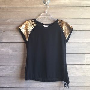 Fun & flirt black & gold shirt
